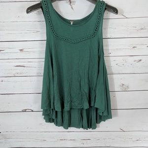 Free People flowy green braided tank top Small